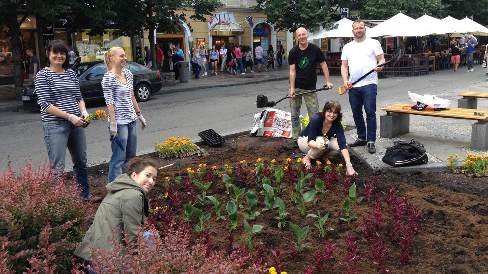 Sázení květin na Václavské náměstí
